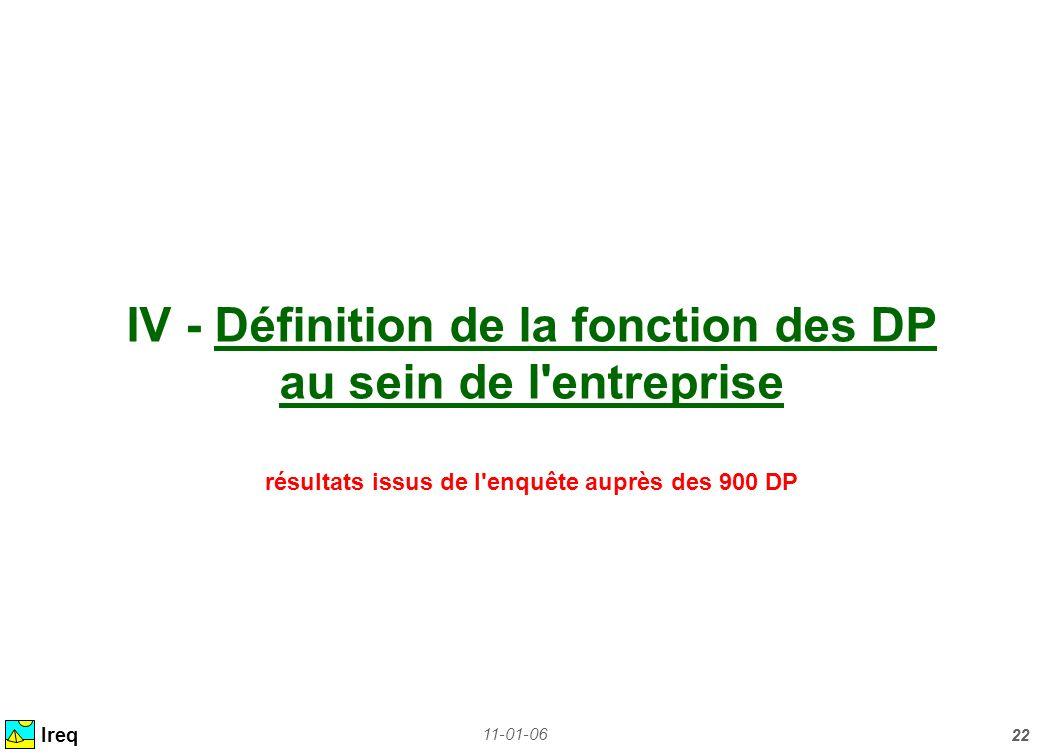 IV - Définition de la fonction des DP au sein de l entreprise