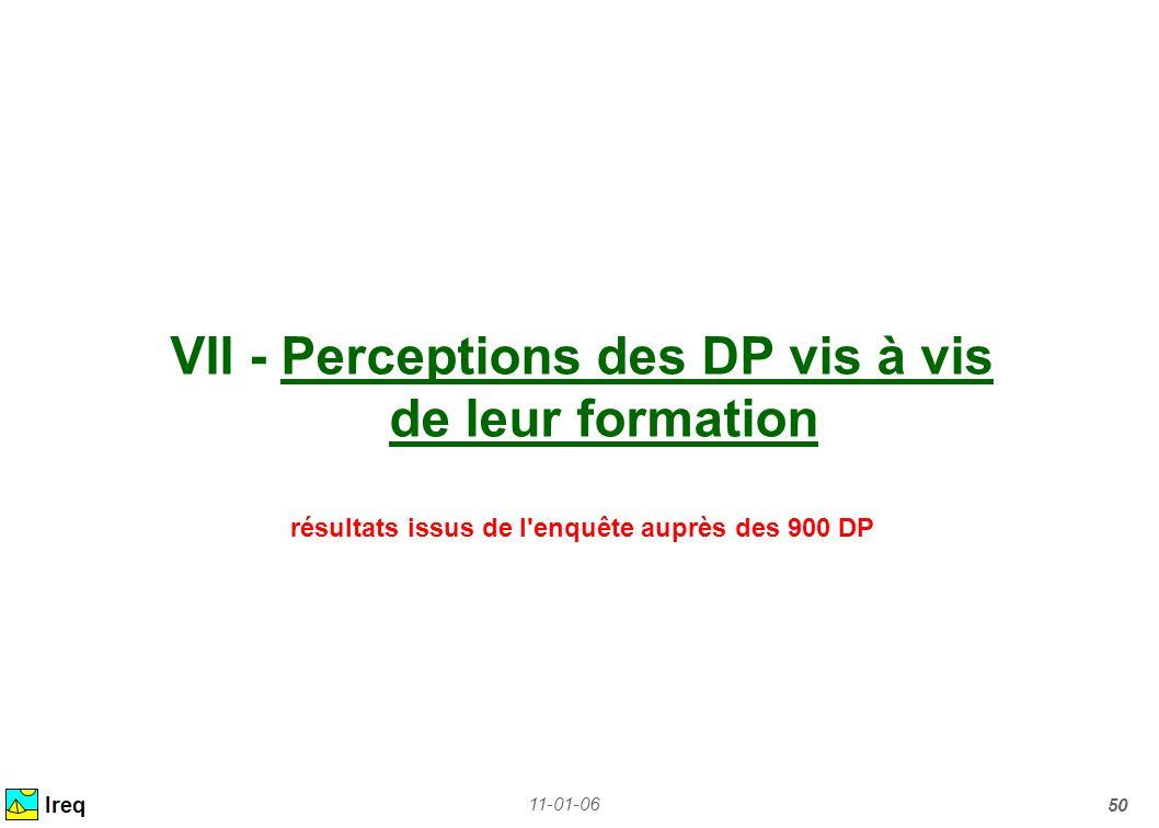 VII - Perceptions des DP vis à vis de leur formation