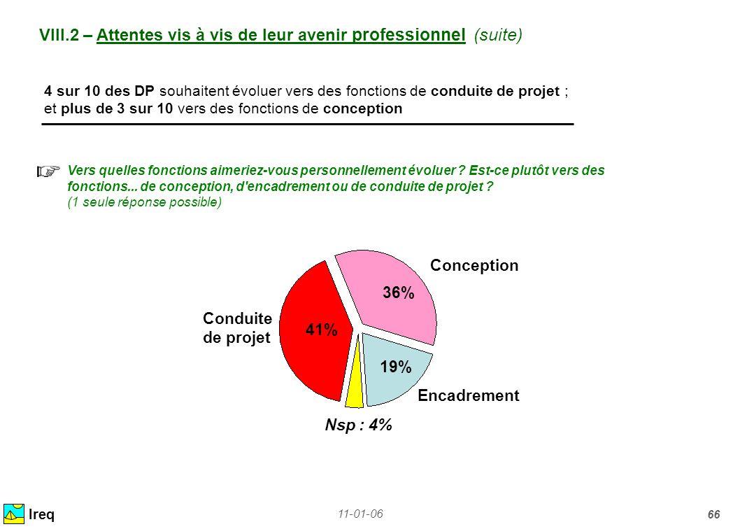 VIII.2 – Attentes vis à vis de leur avenir professionnel (suite)