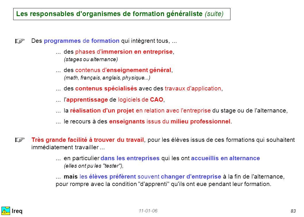 Les responsables d organismes de formation généraliste (suite)