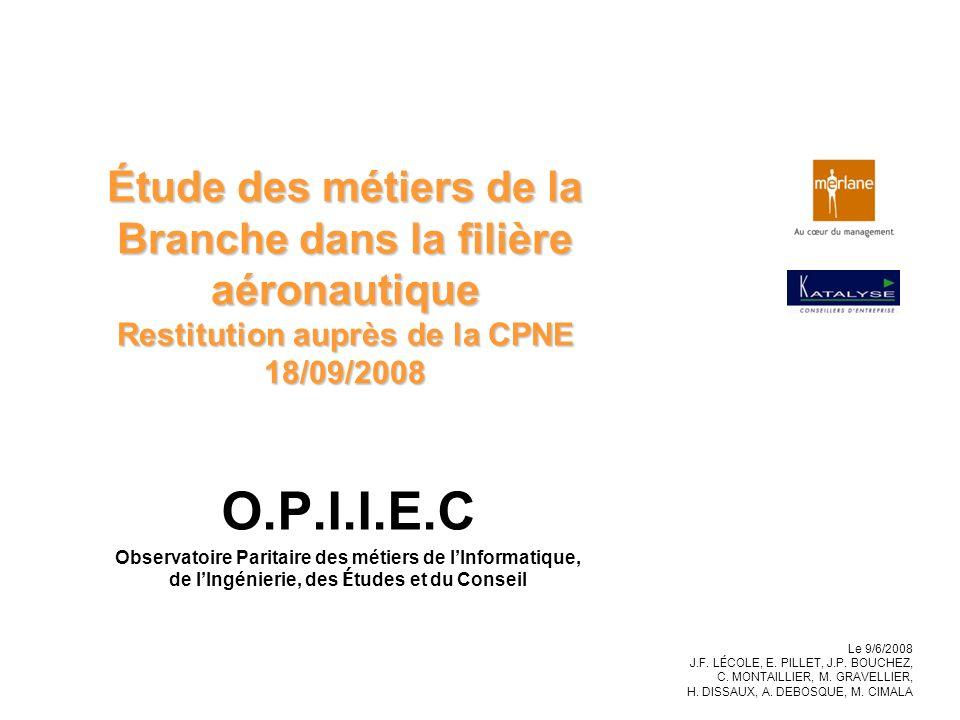 Étude des métiers de la Branche dans la filière aéronautique Restitution auprès de la CPNE 18/09/2008