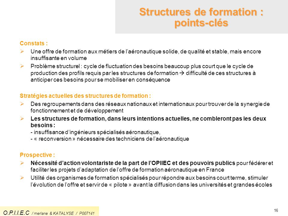 Structures de formation : points-clés