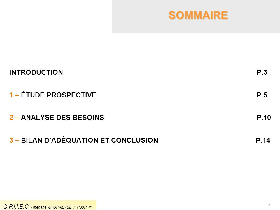 SOMMAIRE INTRODUCTION P.3 1 – ÉTUDE PROSPECTIVE P.5