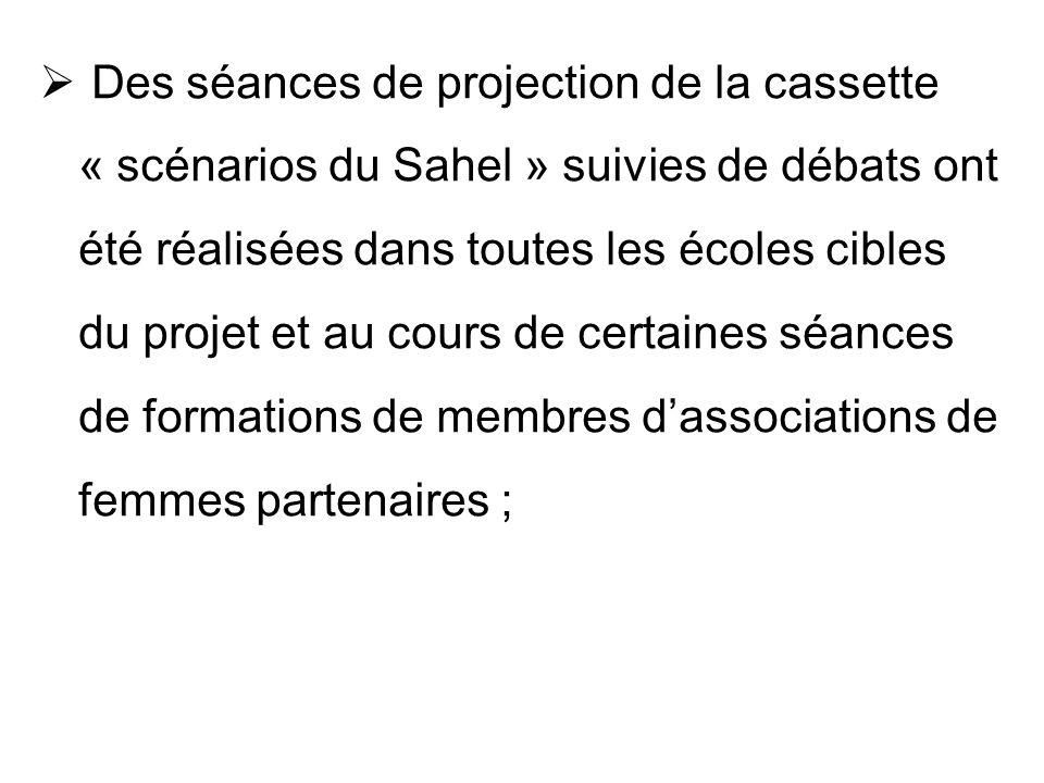 Des séances de projection de la cassette « scénarios du Sahel » suivies de débats ont été réalisées dans toutes les écoles cibles du projet et au cours de certaines séances de formations de membres d'associations de femmes partenaires ;