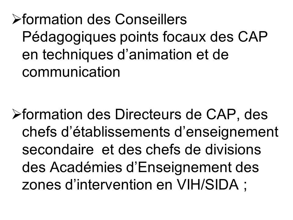 formation des Conseillers Pédagogiques points focaux des CAP en techniques d'animation et de communication