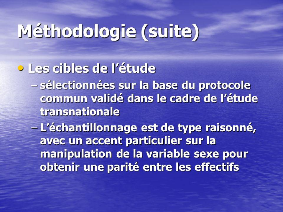Méthodologie (suite) Les cibles de l'étude