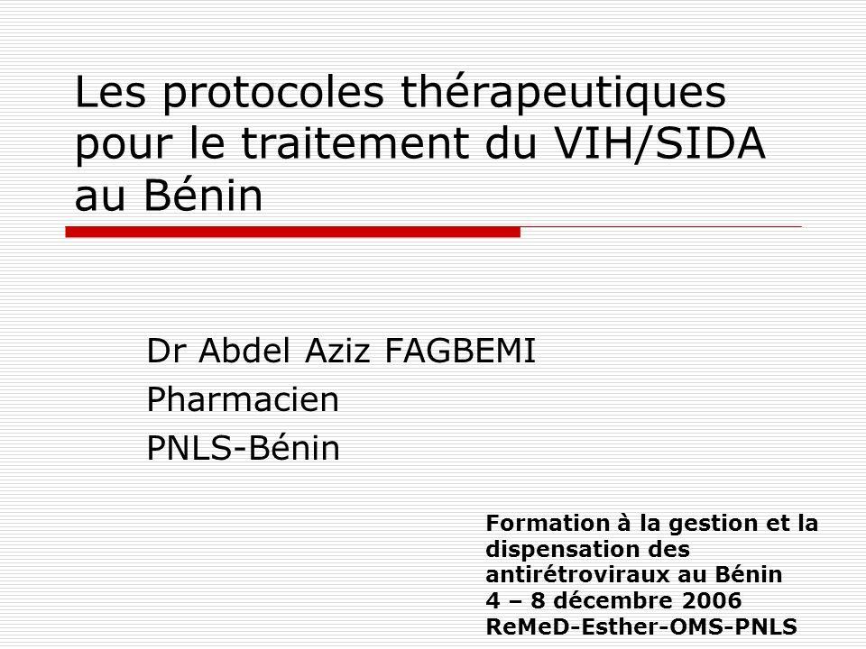 Les protocoles thérapeutiques pour le traitement du VIH/SIDA au Bénin