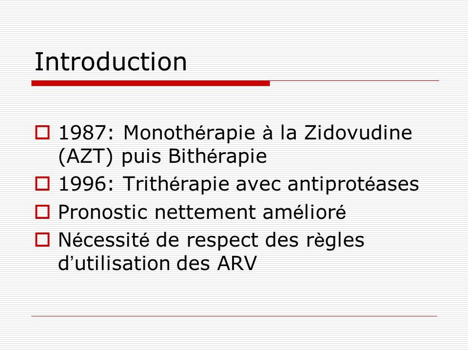 Introduction 1987: Monothérapie à la Zidovudine (AZT) puis Bithérapie