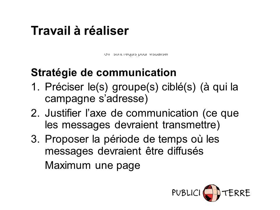 Travail à réaliser Stratégie de communication