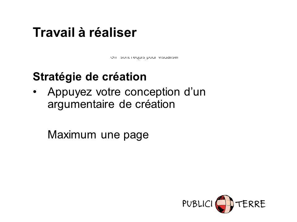 Travail à réaliser Stratégie de création