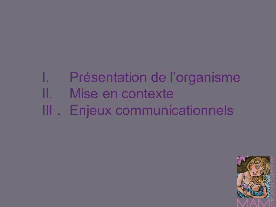 I. Présentation de l'organisme II. Mise en contexte III