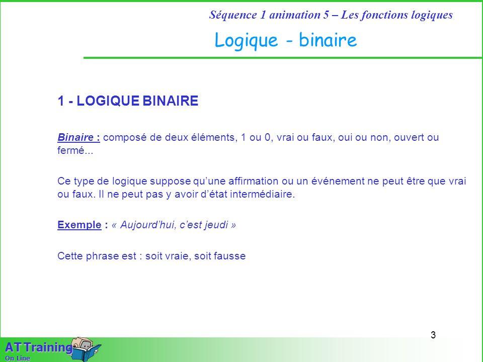 Logique - binaire 1 - LOGIQUE BINAIRE