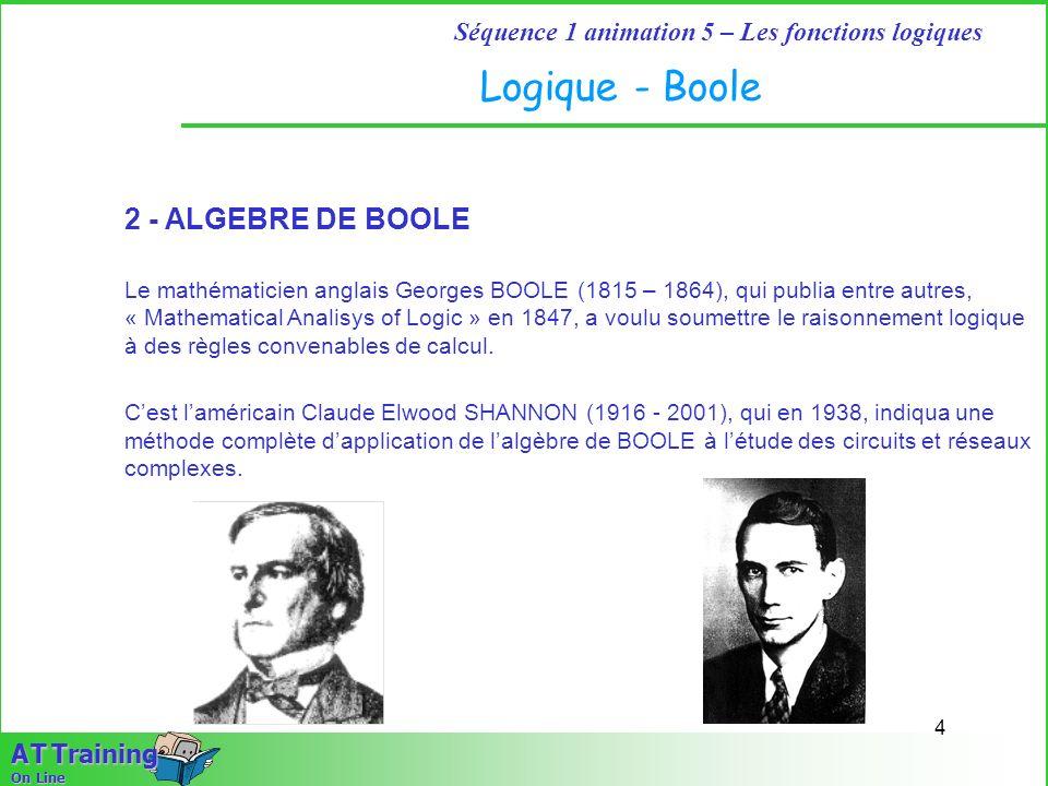 Logique - Boole 2 - ALGEBRE DE BOOLE