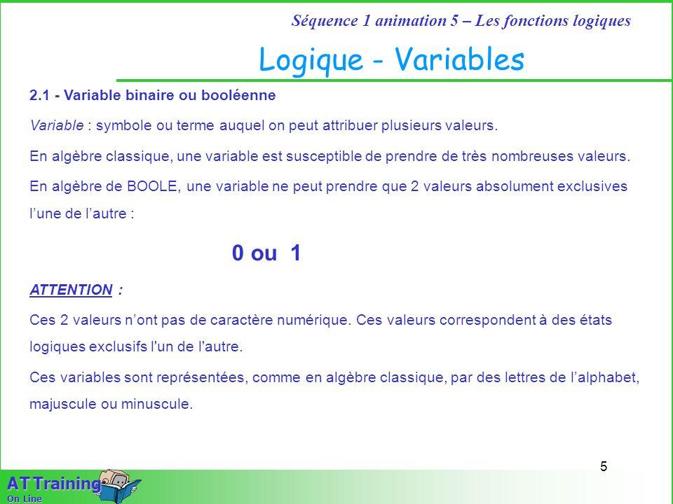 Logique - Variables 2.1 - Variable binaire ou booléenne