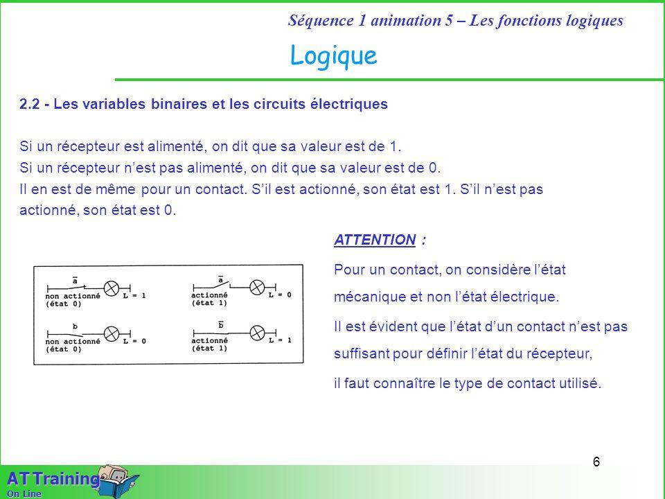 Logique 2.2 - Les variables binaires et les circuits électriques