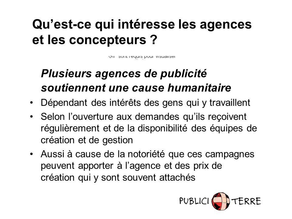 Qu'est-ce qui intéresse les agences et les concepteurs