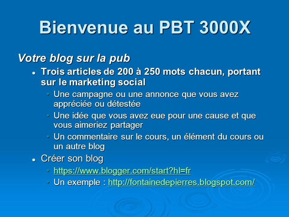 Bienvenue au PBT 3000X Votre blog sur la pub