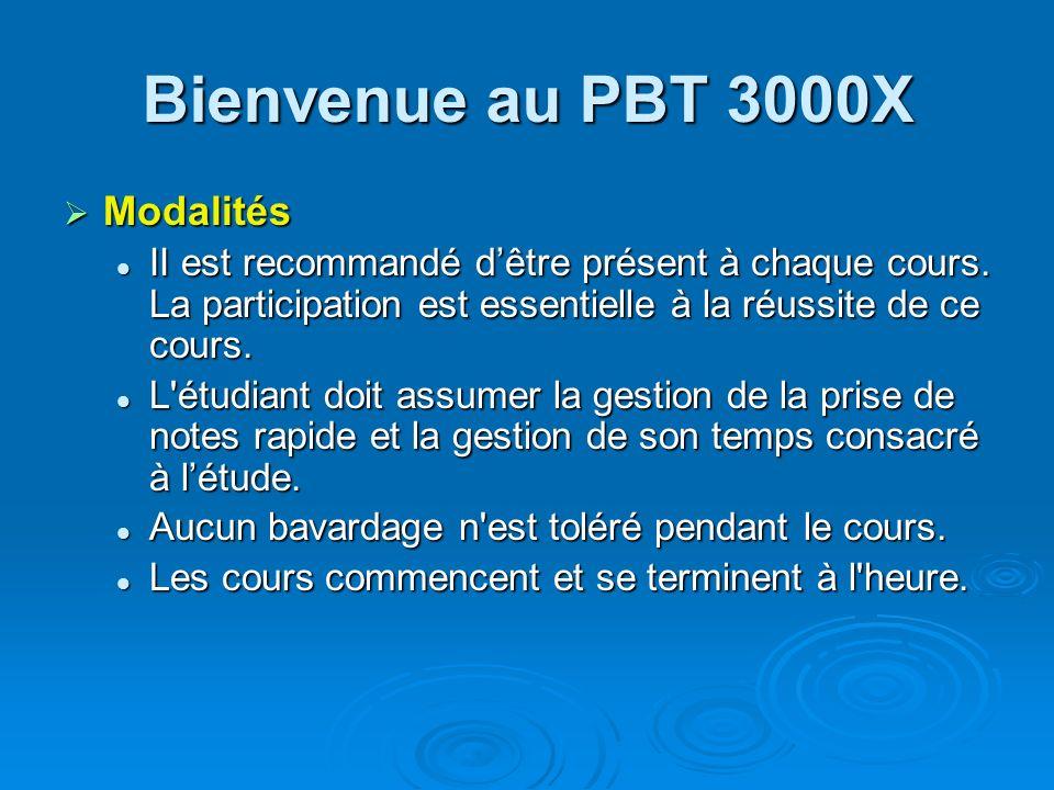 Bienvenue au PBT 3000X Modalités