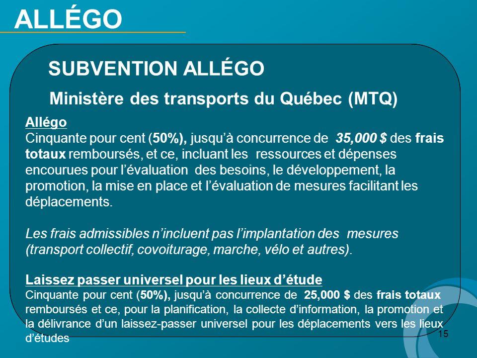 ALLÉGO SUBVENTION ALLÉGO Ministère des transports du Québec (MTQ)