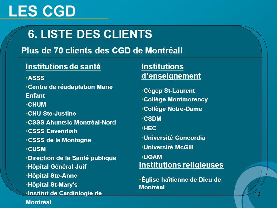 LES CGD 6. LISTE DES CLIENTS Plus de 70 clients des CGD de Montréal!