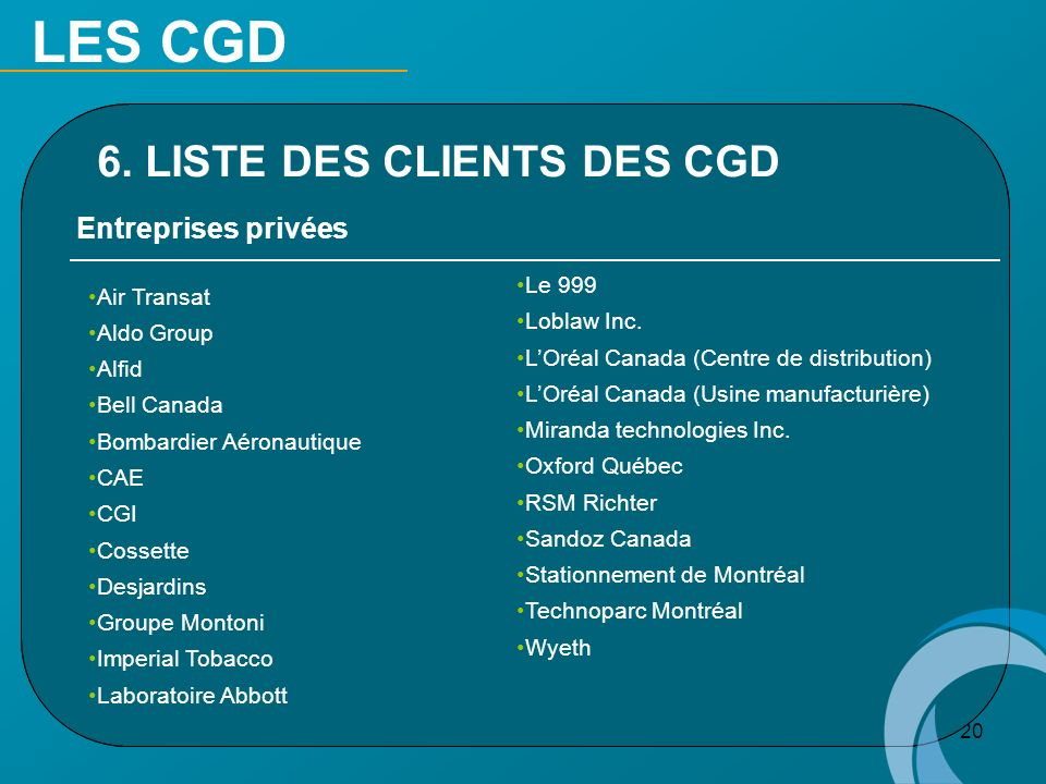 LES CGD 6. LISTE DES CLIENTS DES CGD Entreprises privées Air Transat