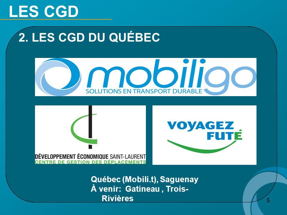 LES CGD 2. LES CGD DU QUÉBEC Québec (Mobili.t), Saguenay