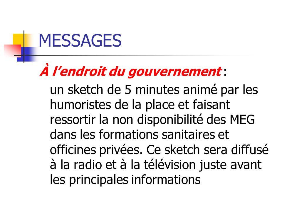 MESSAGES À l'endroit du gouvernement :