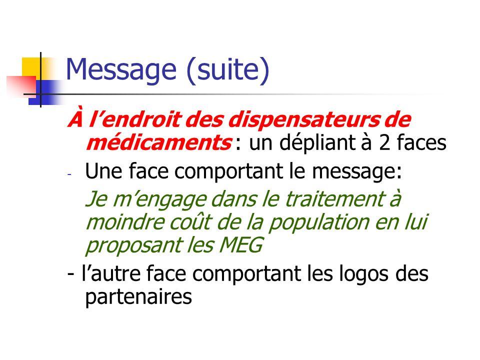 Message (suite)À l'endroit des dispensateurs de médicaments : un dépliant à 2 faces. Une face comportant le message: