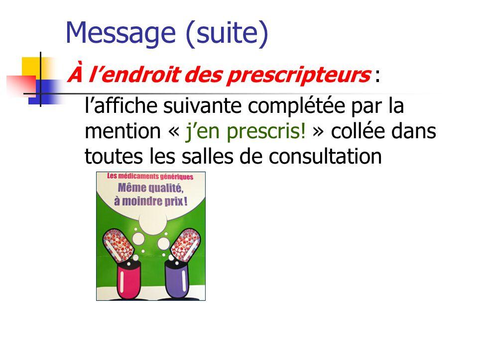 Message (suite) À l'endroit des prescripteurs :