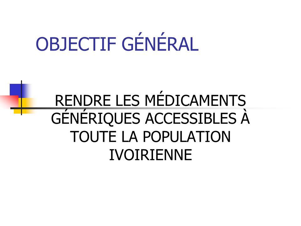OBJECTIF GÉNÉRAL RENDRE LES MÉDICAMENTS GÉNÉRIQUES ACCESSIBLES À TOUTE LA POPULATION IVOIRIENNE