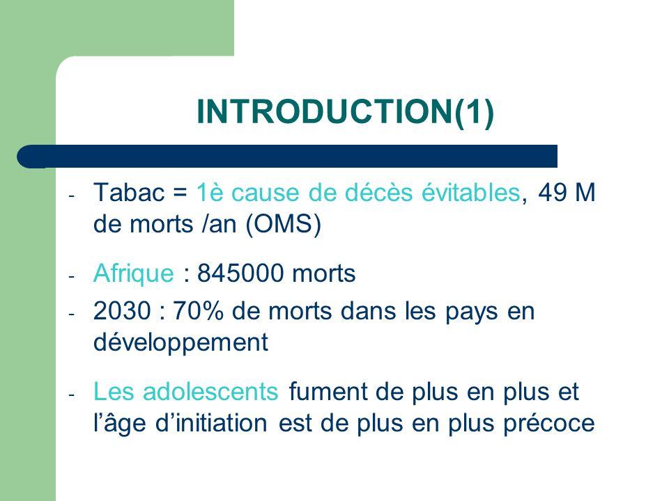 INTRODUCTION(1) Tabac = 1è cause de décès évitables, 49 M de morts /an (OMS) Afrique : 845000 morts.
