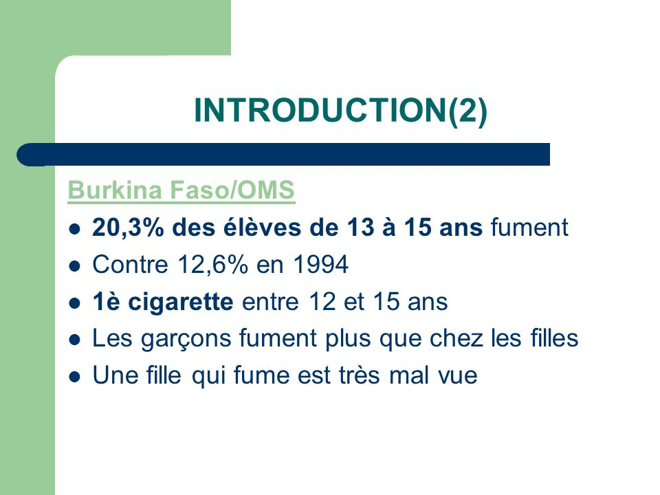 INTRODUCTION(2) Burkina Faso/OMS