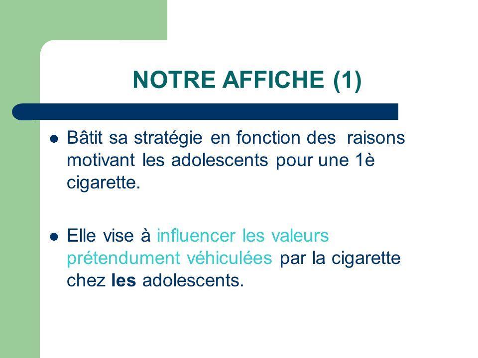 NOTRE AFFICHE (1) Bâtit sa stratégie en fonction des raisons motivant les adolescents pour une 1è cigarette.