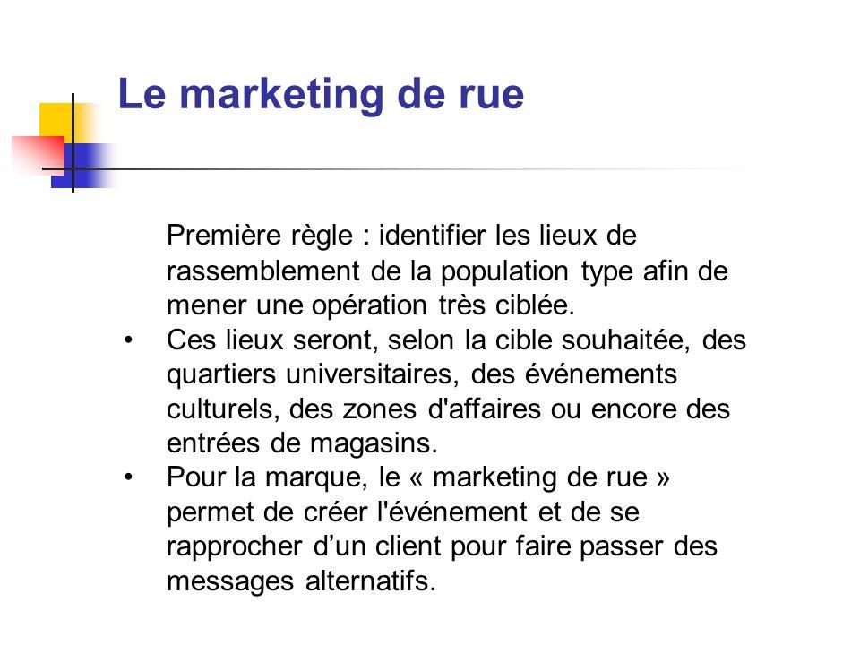 Le marketing de ruePremière règle : identifier les lieux de rassemblement de la population type afin de mener une opération très ciblée.