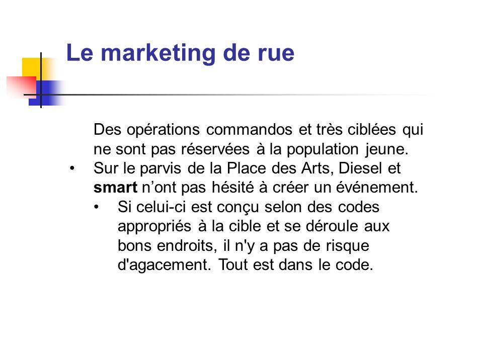 Le marketing de rueDes opérations commandos et très ciblées qui ne sont pas réservées à la population jeune.