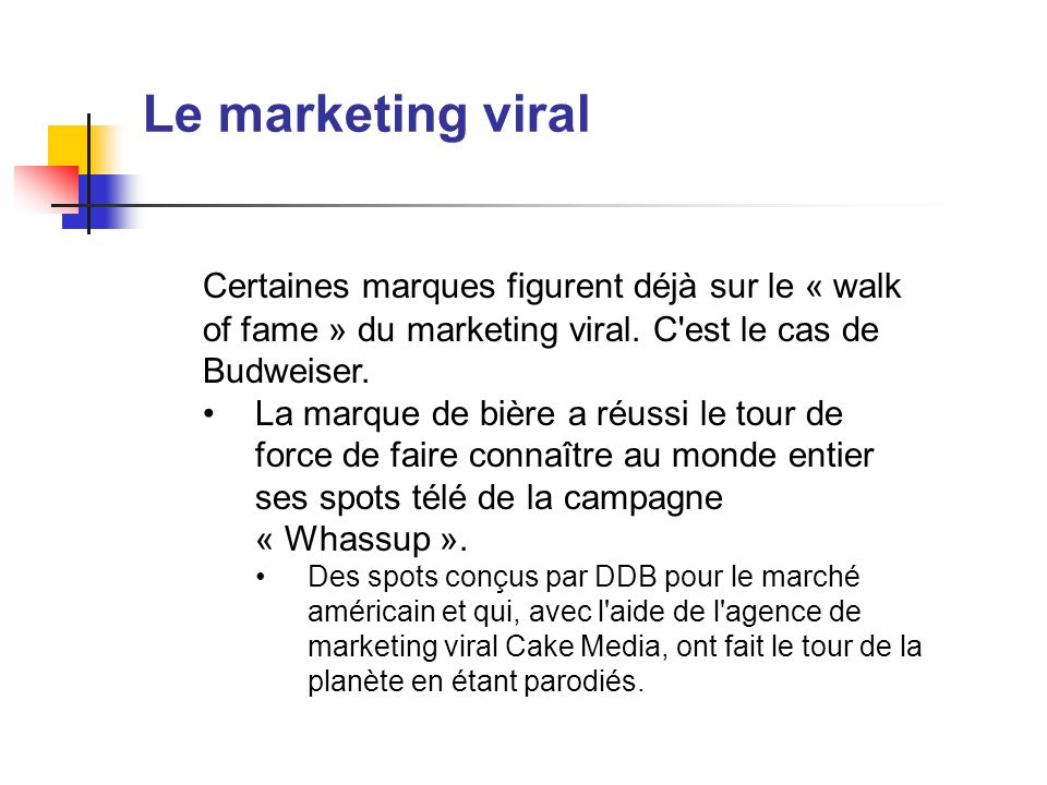 Le marketing viral Certaines marques figurent déjà sur le « walk of fame » du marketing viral. C est le cas de Budweiser.