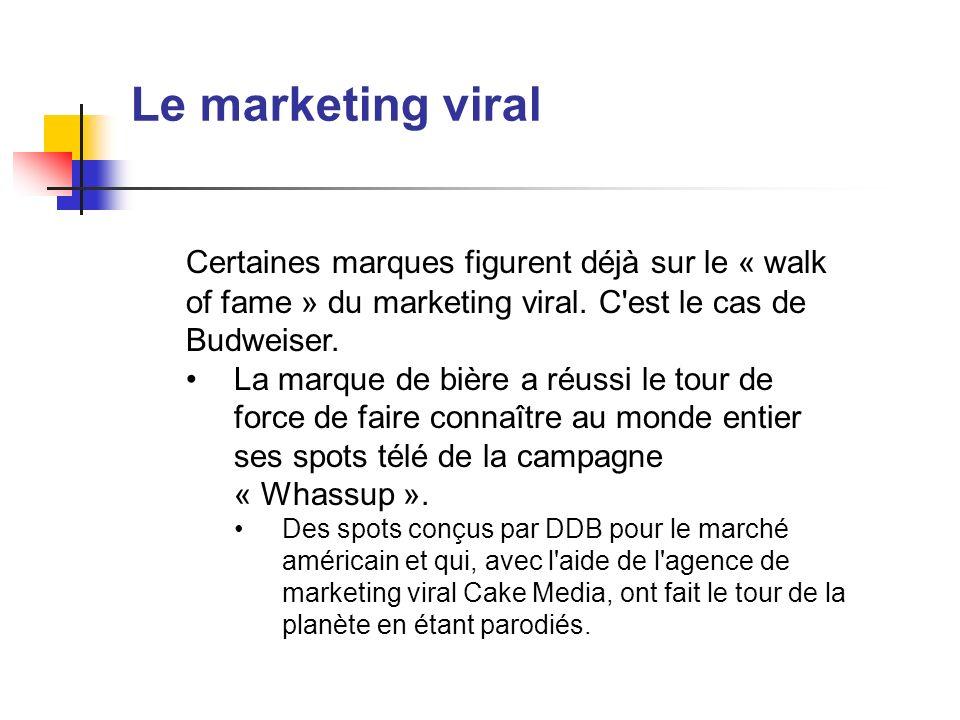Le marketing viralCertaines marques figurent déjà sur le « walk of fame » du marketing viral. C est le cas de Budweiser.