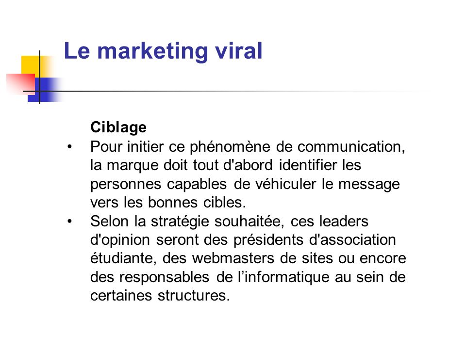 Le marketing viral Ciblage