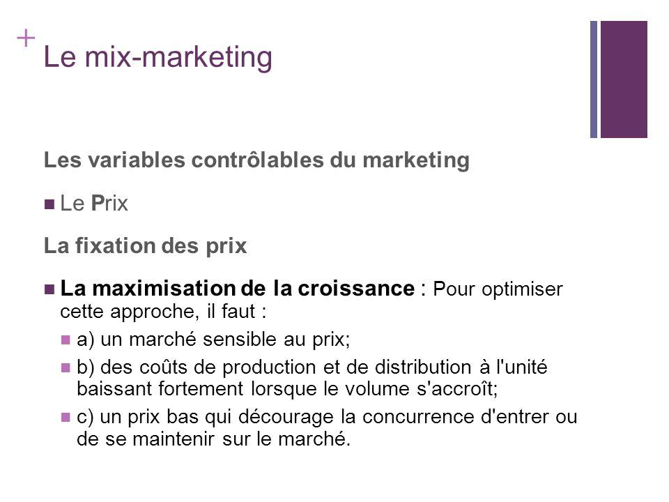Le mix-marketing Les variables contrôlables du marketing Le Prix
