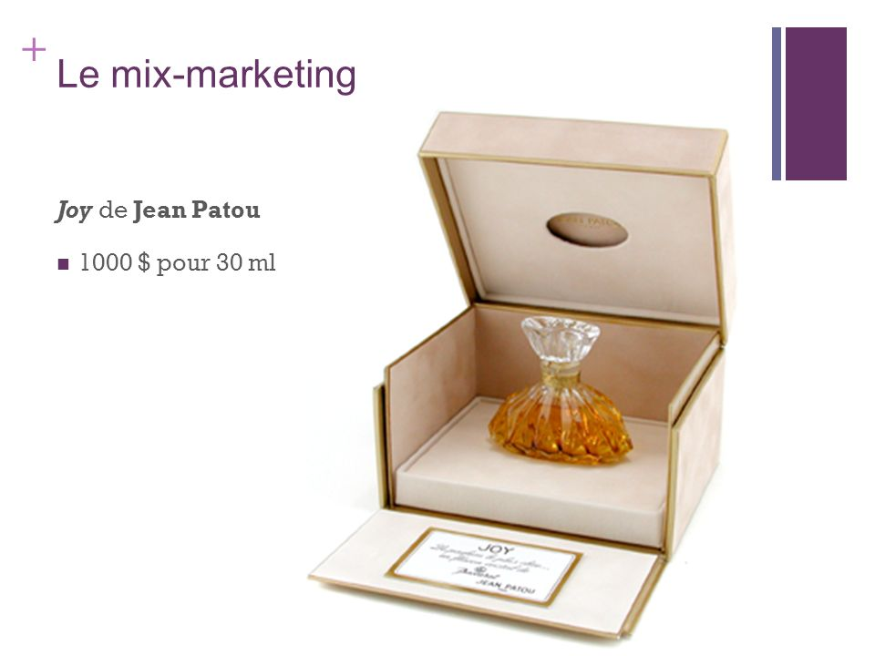 Le mix-marketing Joy de Jean Patou 1000 $ pour 30 ml