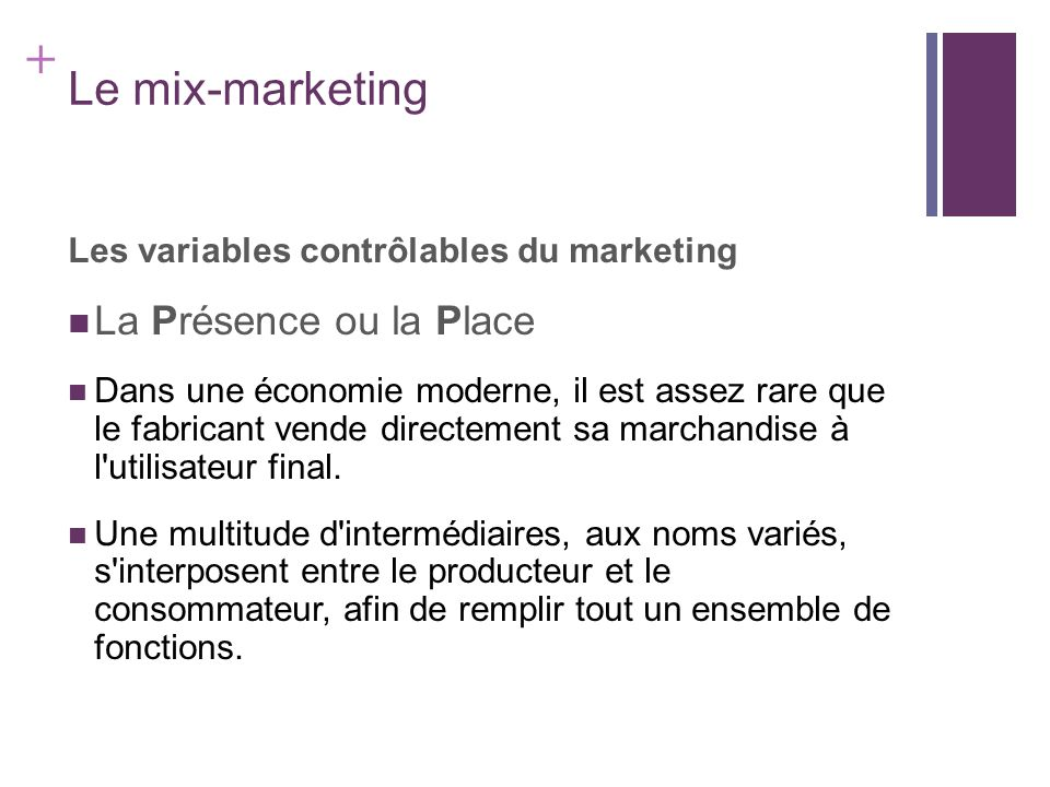 Le mix-marketing La Présence ou la Place