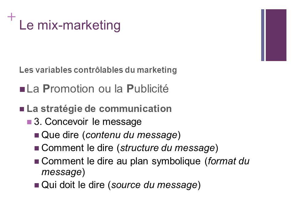 Le mix-marketing La Promotion ou la Publicité