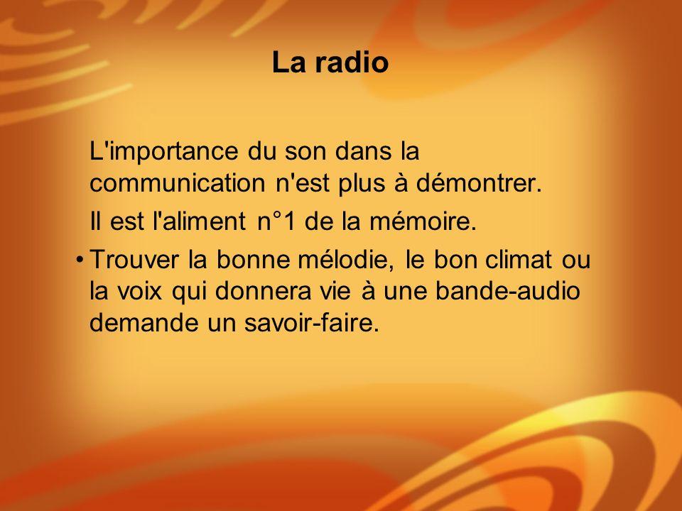 La radio L importance du son dans la communication n est plus à démontrer. Il est l aliment n°1 de la mémoire.