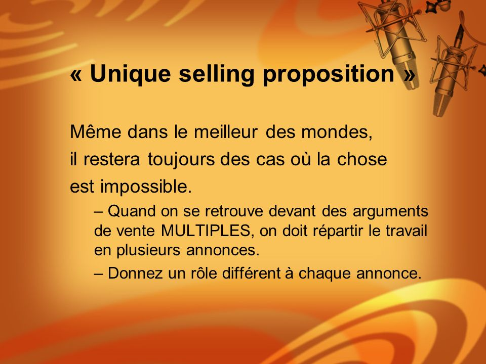 « Unique selling proposition »