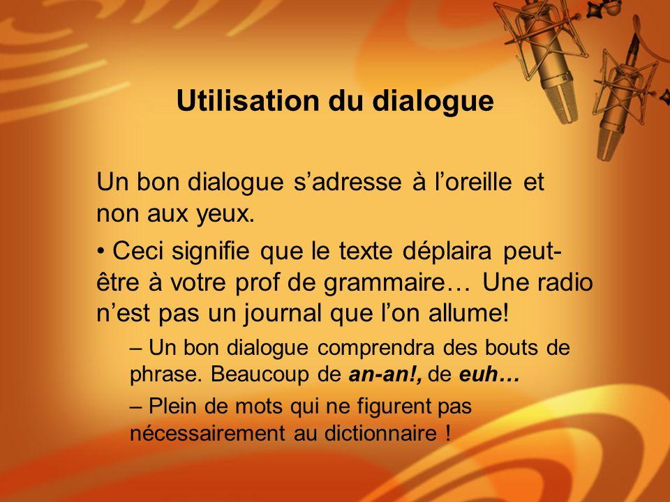 Utilisation du dialogue