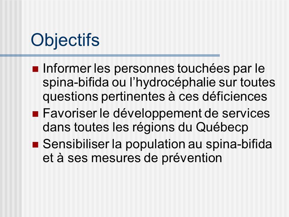 Objectifs Informer les personnes touchées par le spina-bifida ou l'hydrocéphalie sur toutes questions pertinentes à ces déficiences.