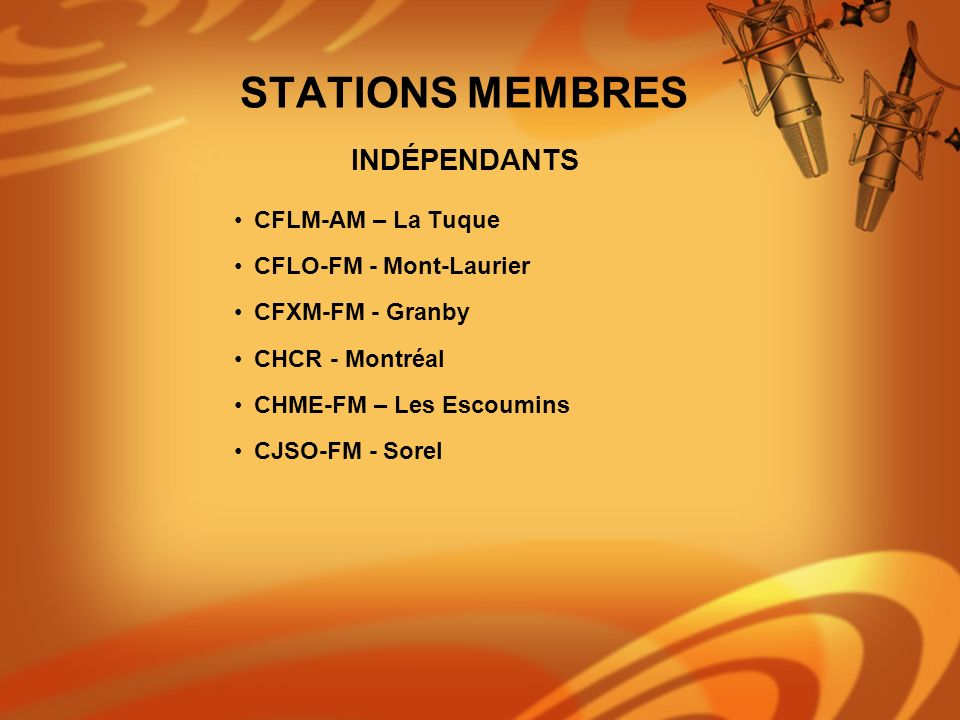 STATIONS MEMBRES INDÉPENDANTS CFLM-AM – La Tuque