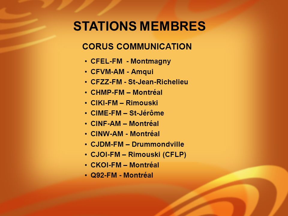 STATIONS MEMBRES CORUS COMMUNICATION CFEL-FM - Montmagny