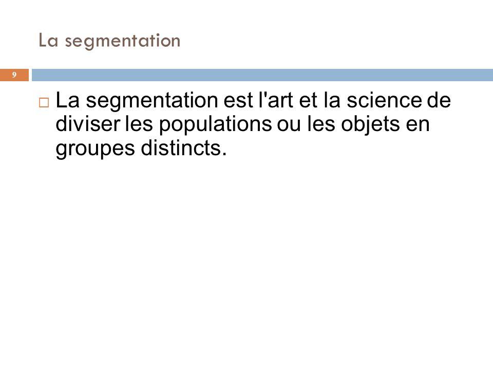 La segmentation La segmentation est l art et la science de diviser les populations ou les objets en groupes distincts.