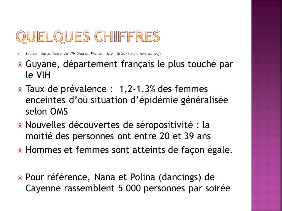 Quelques chiffres Source : Surveillance du VIH-Sida en France - Site : http://www.invs.sante.fr.